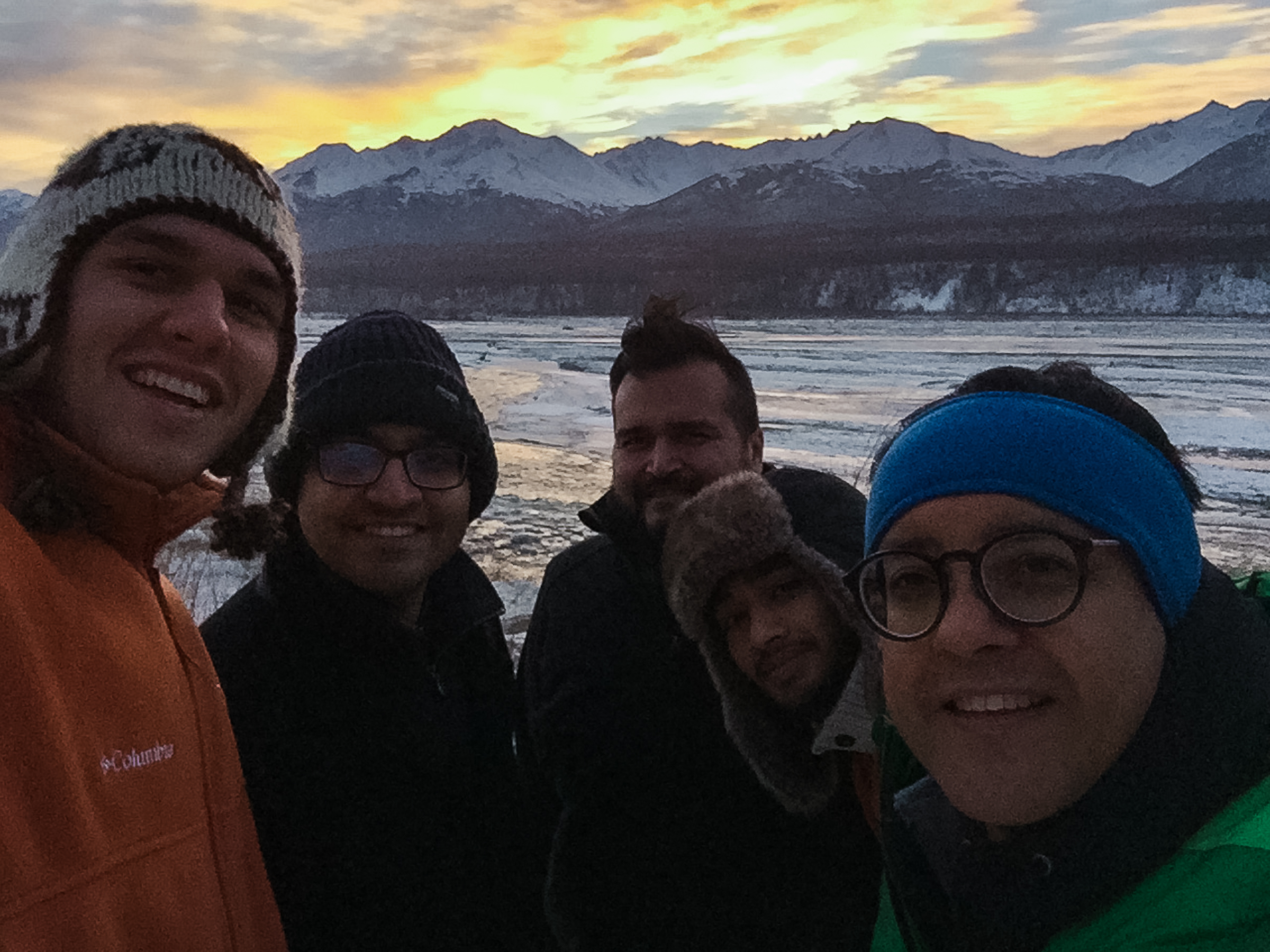 Civil, architectural, environmental engineering researchers with a member of the knik tribe