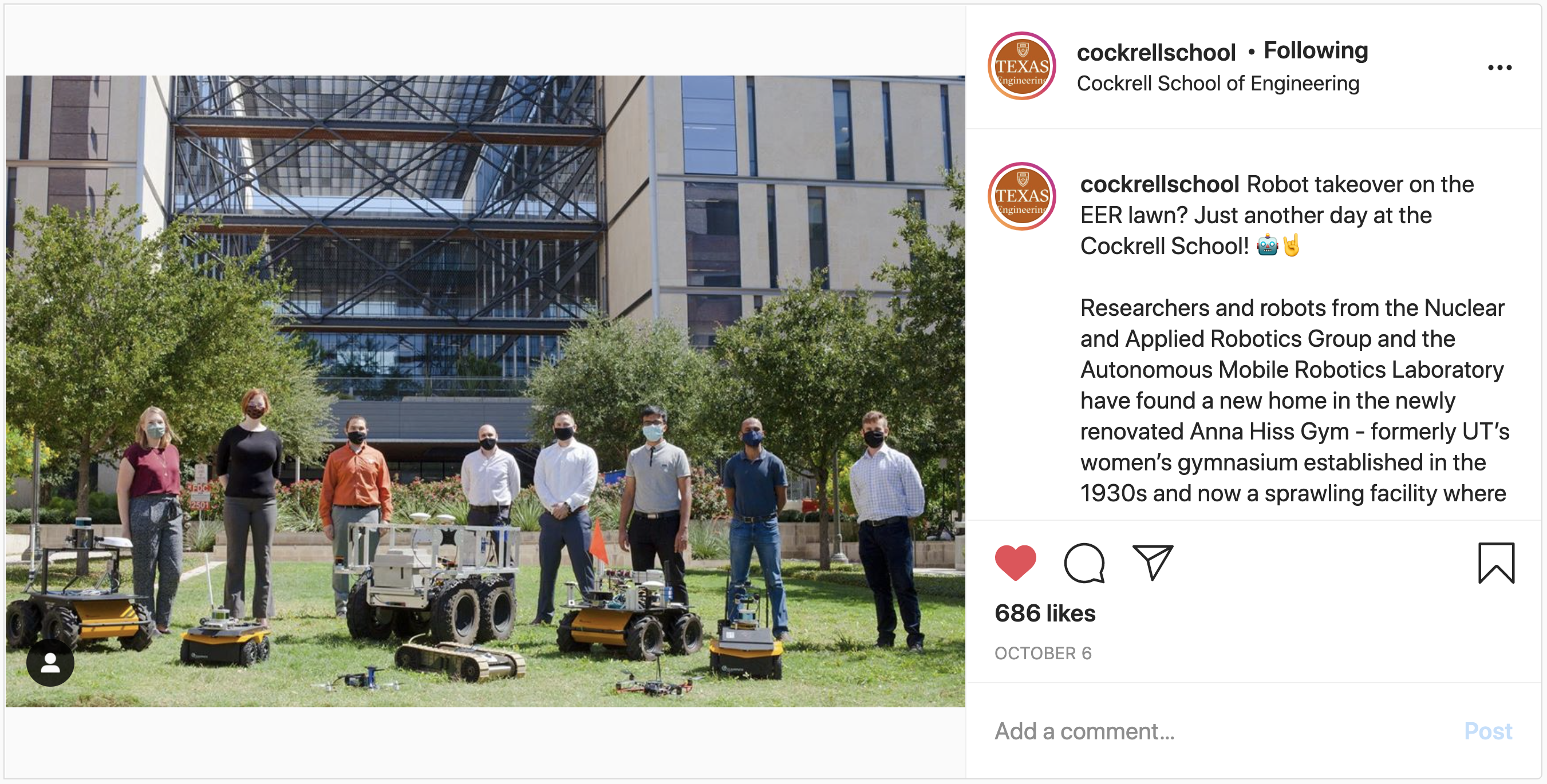 Instagram post of students with robots on EER lawn